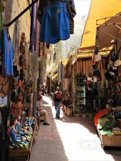 Streets full of shops in the old town of Tangier, Morocco