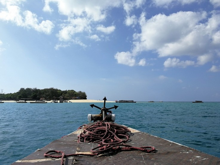 Arriving at the beach at Prison Island near Zanzibar