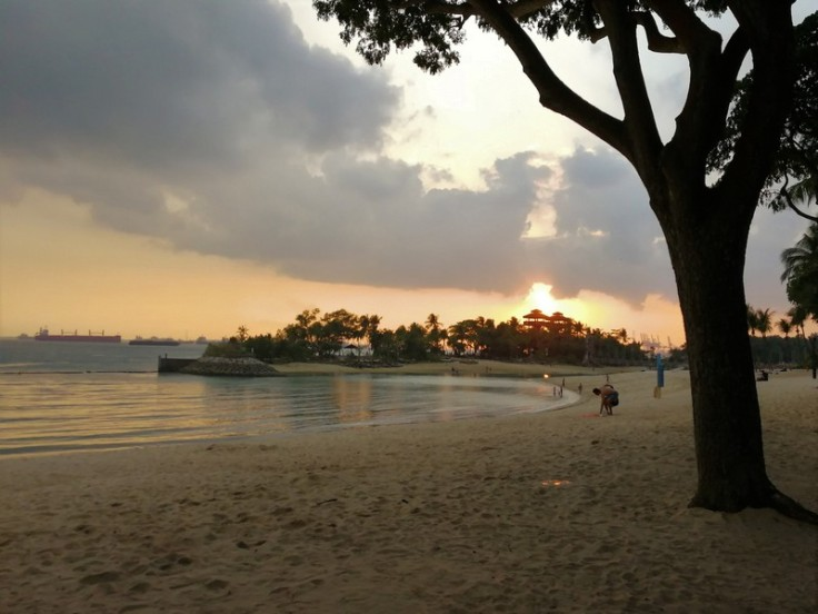 Beach at Singapore's Sentosa at sunset