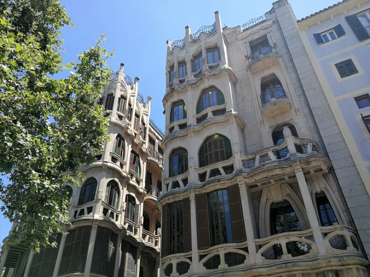 Beautiful buildings in the old town of Palma